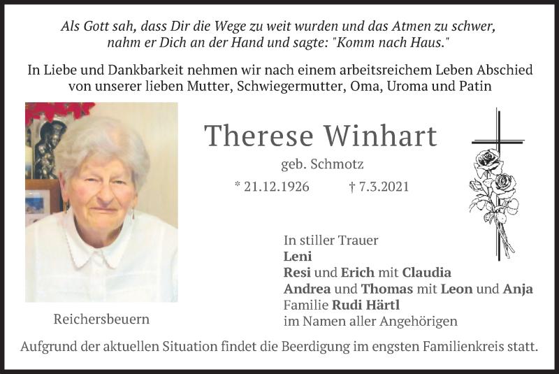 Traueranzeige für Therese Winkart vom 11.03.2021 aus merkurtz