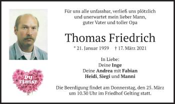 Traueranzeige von Thomas Friedrich von merkurtz