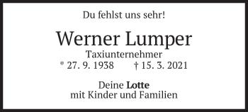 Traueranzeige von Werner Lumper von merkurtz