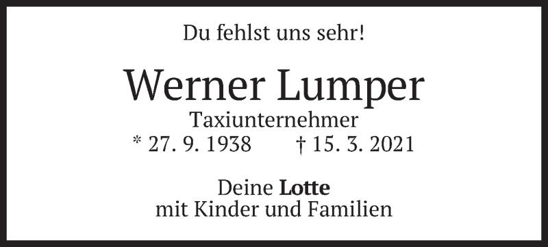 Traueranzeige für Werner Lumper vom 20.03.2021 aus merkurtz
