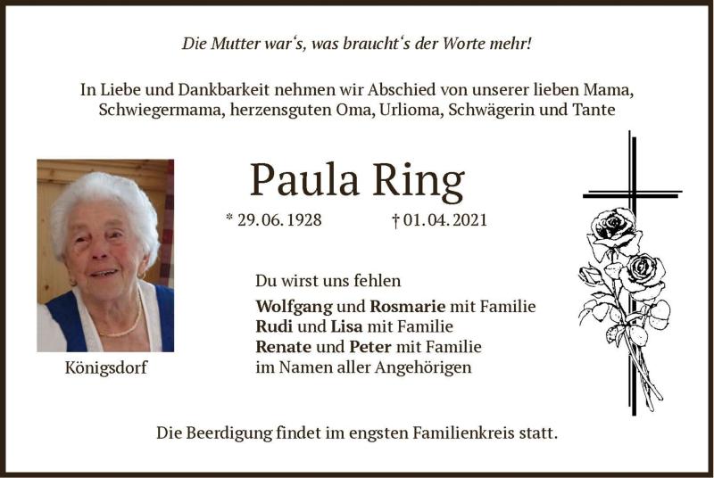 Traueranzeige für Paula Ring vom 06.04.2021 aus merkurtz