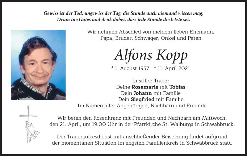 Traueranzeige für Alfons Kopp vom 17.04.2021 aus merkurtz