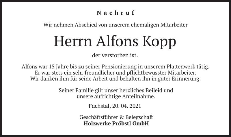 Traueranzeige für Alfons Kopp vom 22.04.2021 aus merkurtz