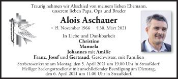 Traueranzeige von Alois Aschauer von merkurtz