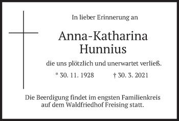 Traueranzeige von Anna-Katharina Hunnius von merkurtz