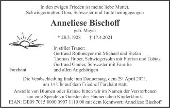 Traueranzeige von Anneliese Bischoff von merkurtz