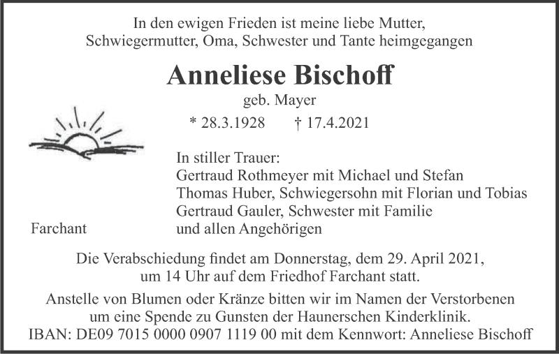 Traueranzeige für Anneliese Bischoff vom 26.04.2021 aus merkurtz