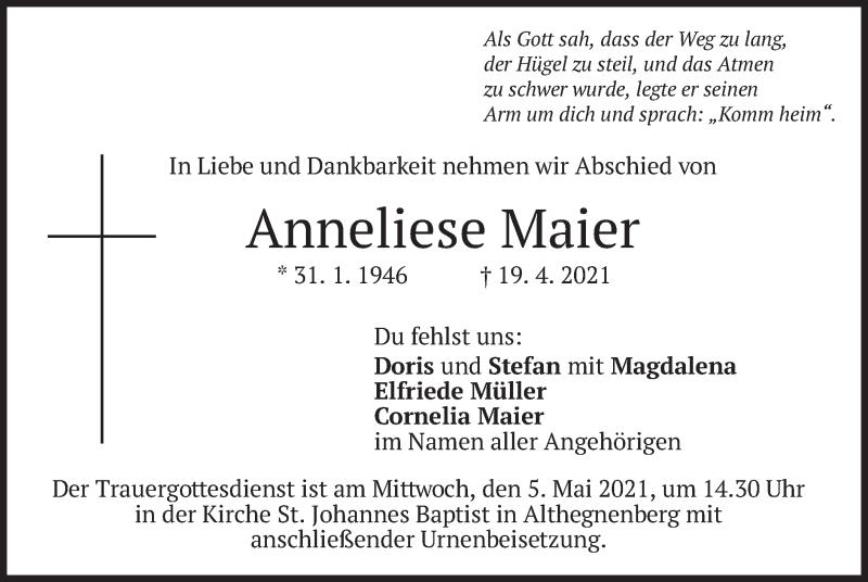 Traueranzeige für Anneliese Maier vom 30.04.2021 aus merkurtz