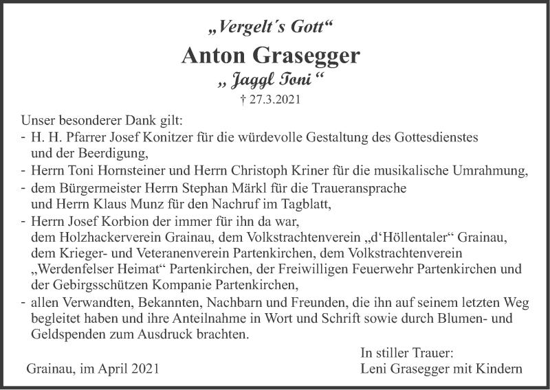 Traueranzeige für Anton Grasegger vom 17.04.2021 aus merkurtz