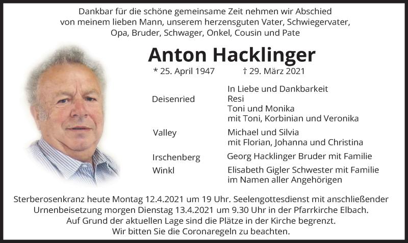Traueranzeige für Anton Hacklinger vom 12.04.2021 aus merkurtz