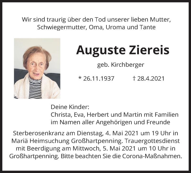 Traueranzeige für Auguste Ziereis vom 30.04.2021 aus merkurtz