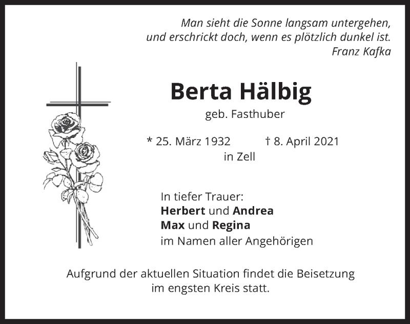 Traueranzeige für Berta Hälbig vom 10.04.2021 aus merkurtz