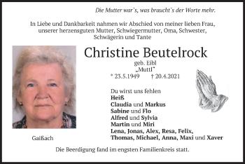 Traueranzeige von Christine Beutelrock von merkurtz