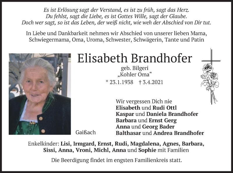 Traueranzeige für Elisabeth Brandhofer vom 07.04.2021 aus merkurtz