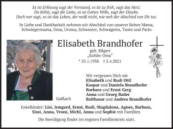 Traueranzeige von Elisabeth Brandhofer von merkurtz