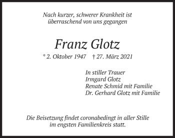 Traueranzeige von Franz Glotz von merkurtz