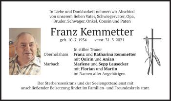 Traueranzeige von Franz Kemmetter von merkurtz