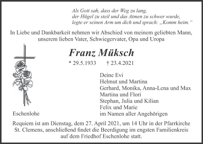 Traueranzeige für Franz Müksch vom 24.04.2021 aus merkurtz