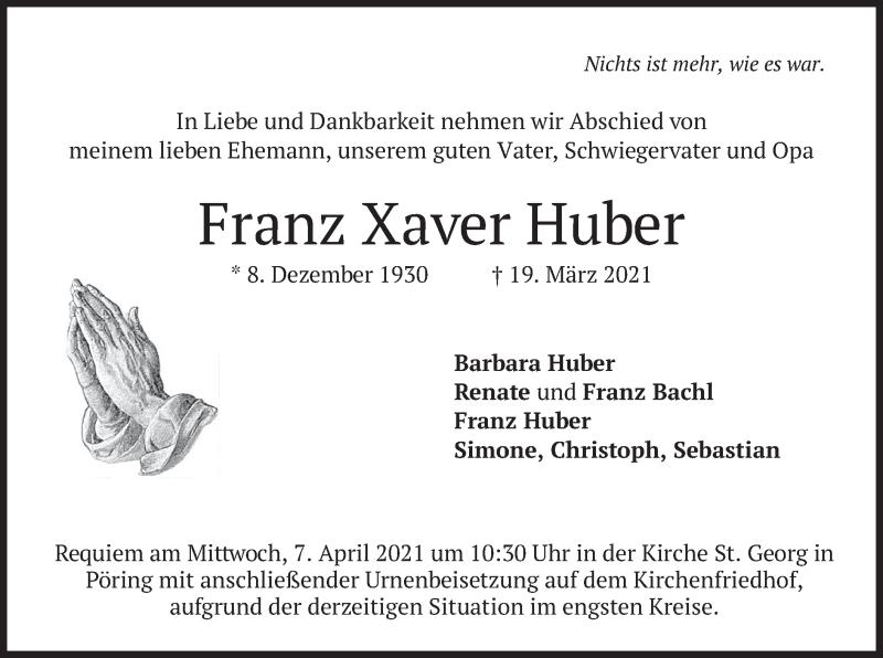 Traueranzeige für Franz Xaver Huber vom 03.04.2021 aus merkurtz
