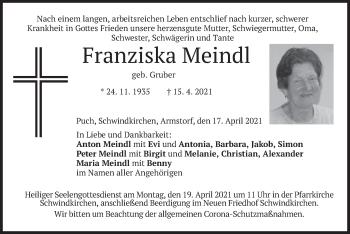 Traueranzeige von Franziska Meindl von merkurtz