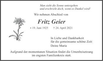 Traueranzeige von Fritz Geier von merkurtz