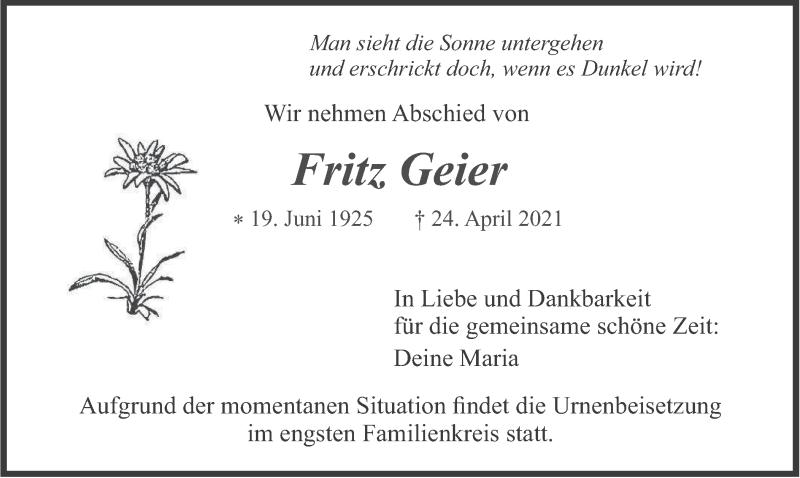 Traueranzeige für Fritz Geier vom 30.04.2021 aus merkurtz