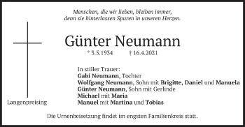 Traueranzeige von Günter Neumann von merkurtz