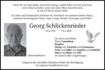 Traueranzeige von Georg Schlickenrieder von merkurtz