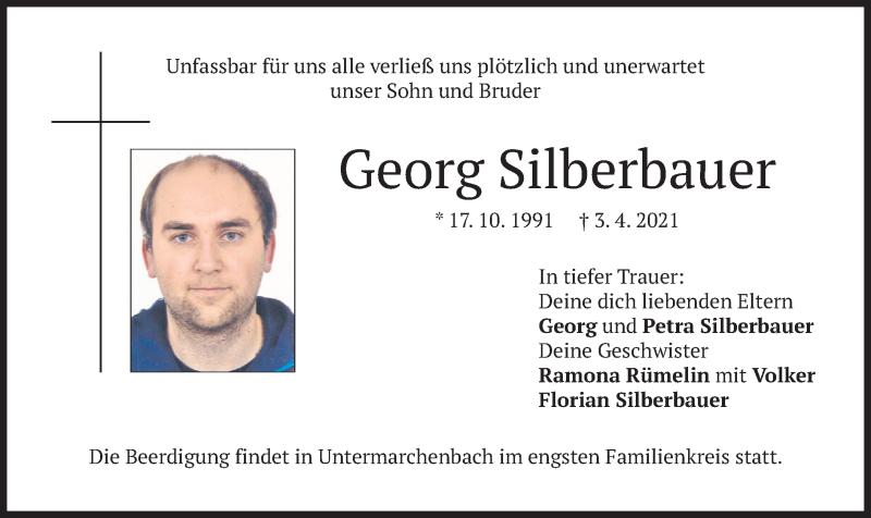 Traueranzeige für Georg Silberbauer vom 06.04.2021 aus merkurtz