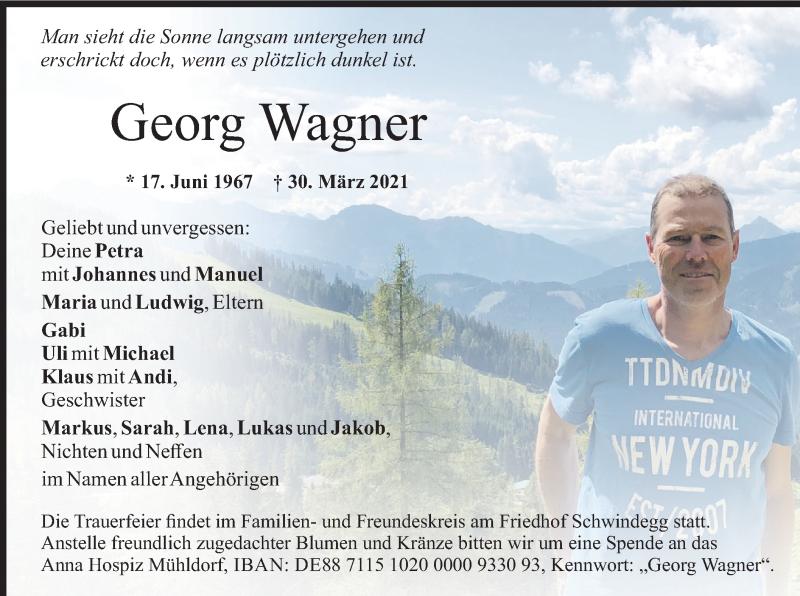 Traueranzeige für Georg Wagner vom 06.04.2021 aus merkurtz