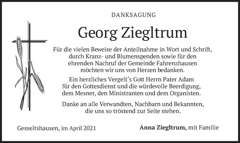 Traueranzeige für Georg Ziegltrum vom 10.04.2021 aus merkurtz