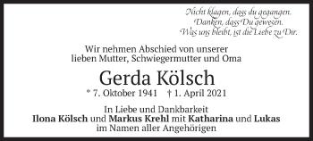 Traueranzeige von Gerda Kölsch von merkurtz