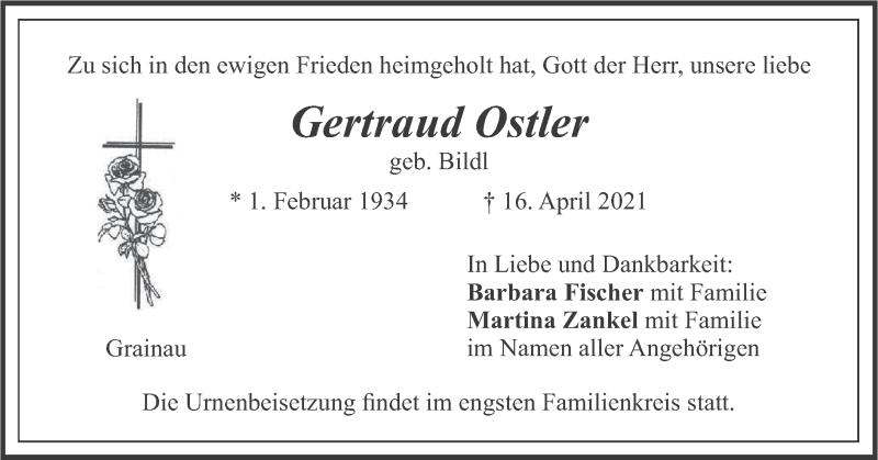 Traueranzeige für Gertraud Ostler vom 24.04.2021 aus merkurtz