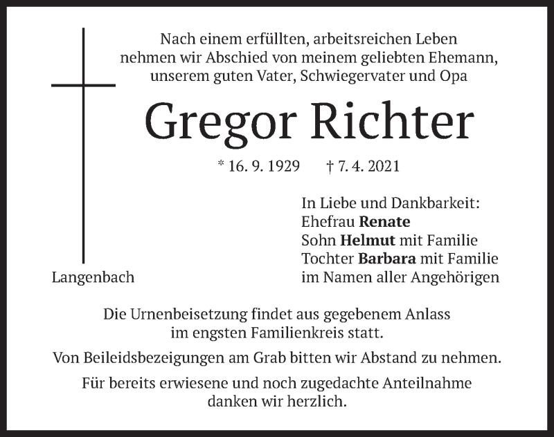 Traueranzeige für Gregor Richter vom 08.04.2021 aus merkurtz