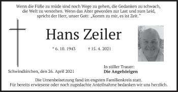 Traueranzeige von Hans Zeiler von merkurtz