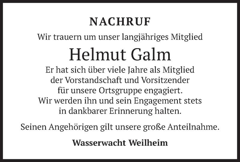 Traueranzeige für Helmut Galm vom 10.04.2021 aus merkurtz