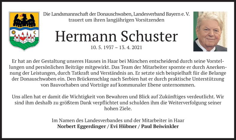 Traueranzeige für Hermann Schuster vom 22.04.2021 aus merkurtz