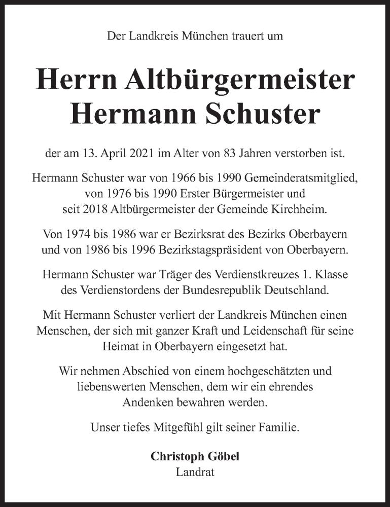 Traueranzeige für Hermann Schuster vom 17.04.2021 aus merkurtz