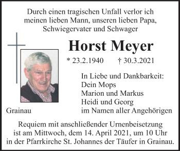 Traueranzeige von Horst Meyer von merkurtz