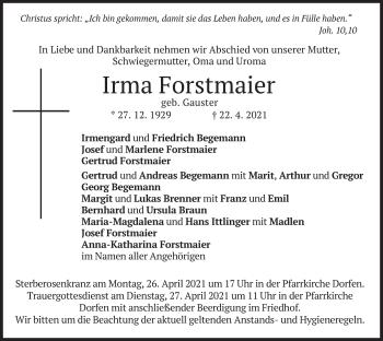 Traueranzeige von Irma Forstmaier von merkurtz