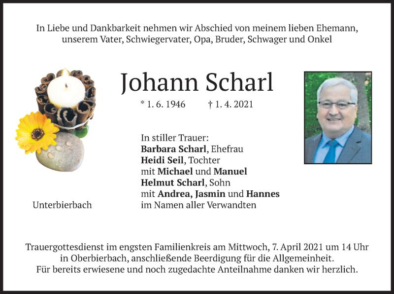 Traueranzeige für Johann Scharl vom 03.04.2021 aus merkurtz