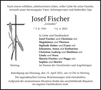 Traueranzeige von Josef Fischer von merkurtz