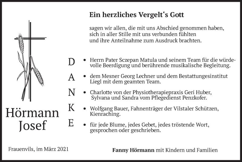 Traueranzeige für Josef Hörmann vom 01.04.2021 aus merkurtz