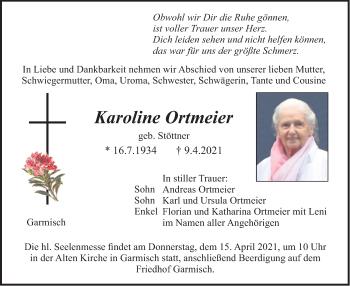 Traueranzeige von Karoline Ortmeier von merkurtz
