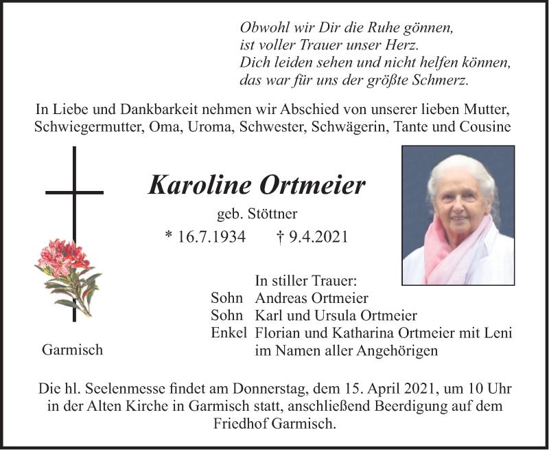 Traueranzeige für Karoline Ortmeier vom 13.04.2021 aus merkurtz