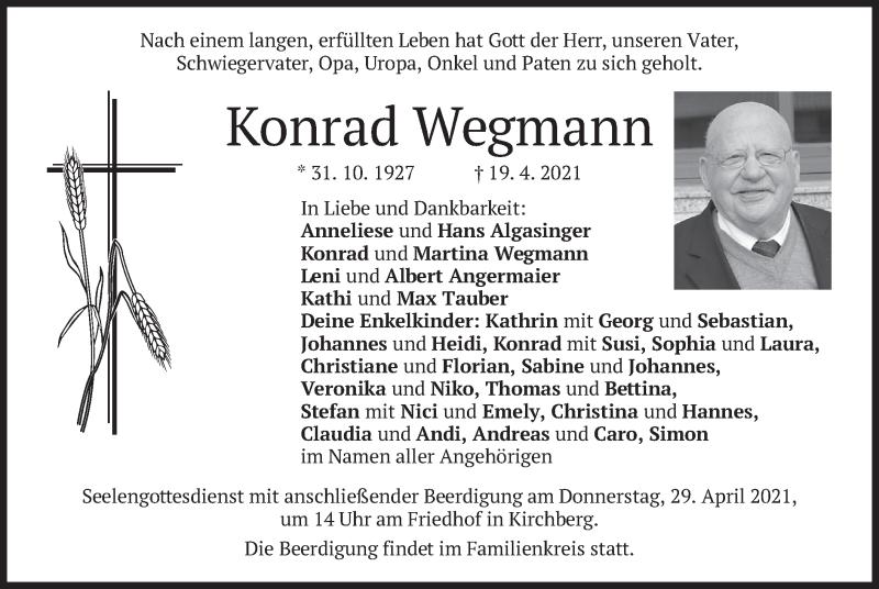 Traueranzeige für Konrad Wegmann vom 24.04.2021 aus merkurtz