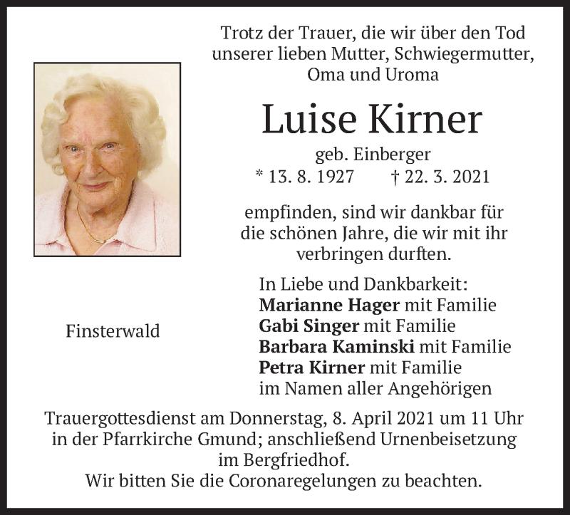 Traueranzeige für Luise Kirner vom 03.04.2021 aus merkurtz