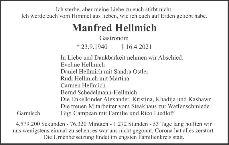Traueranzeige für Manfred Hellmich vom 24.04.2021 aus merkurtz