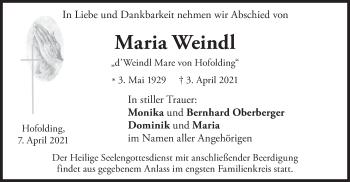 Traueranzeige von Maria Weindl von merkurtz