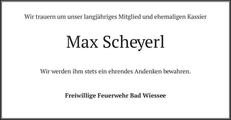 Traueranzeige für Max Scheyerl vom 07.04.2021 aus merkurtz